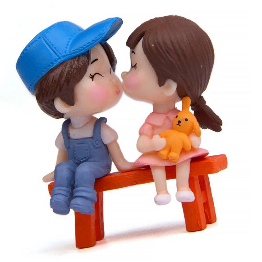 3pcs Mini Sweety Lovers Crafts figurina Fairy Garden Coppia Lovers Decor casa delle Bambole gnomi Ornamenti casa delle Bambole Accessori Fai da Te Garden Home Decor Taglia Libera Blue