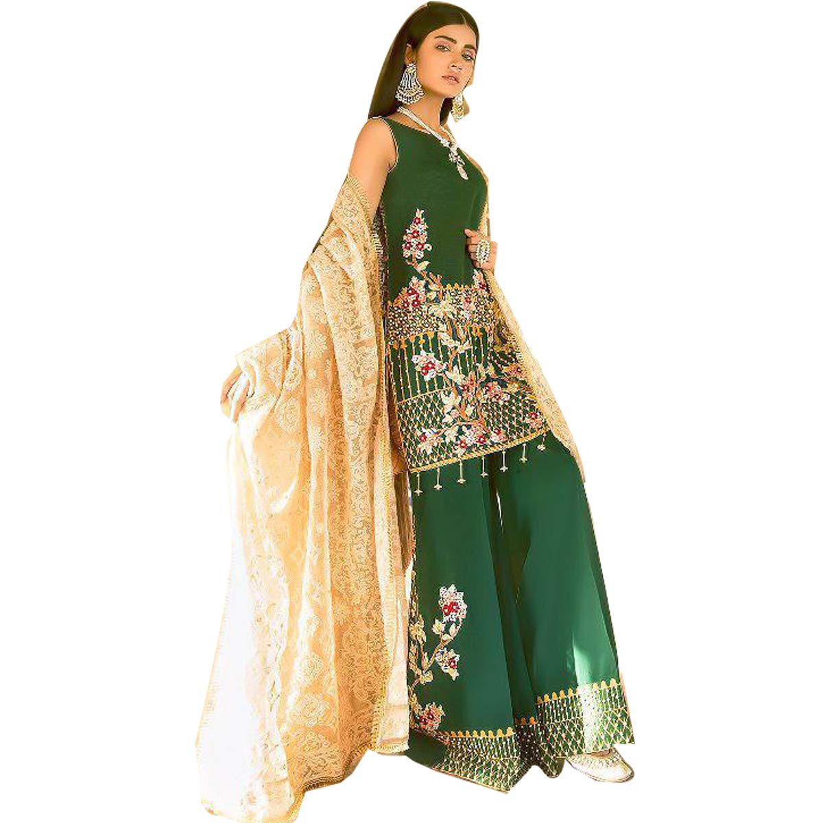 ee50794485 99pockets Green Pure Cotton Printed & Embroidered unstitched suit with pure  cotton dyed bottom and Chiffon Dupatta: Amazon.in: Clothing & Accessories