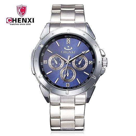 SJXIN Reloj Elegante CHENXI Marca Reloj de los Hombres de Negocios Reloj de Pulsera de Acero no mecánico Reloj de Cuarzo Correa de Acero 019A Relojes de ...