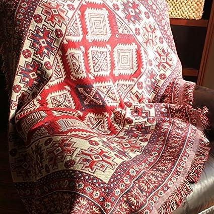 wolala casa Bohemia hecho a mano Crochet Tejido sofá toalla manta gruesa línea doble cara mantas