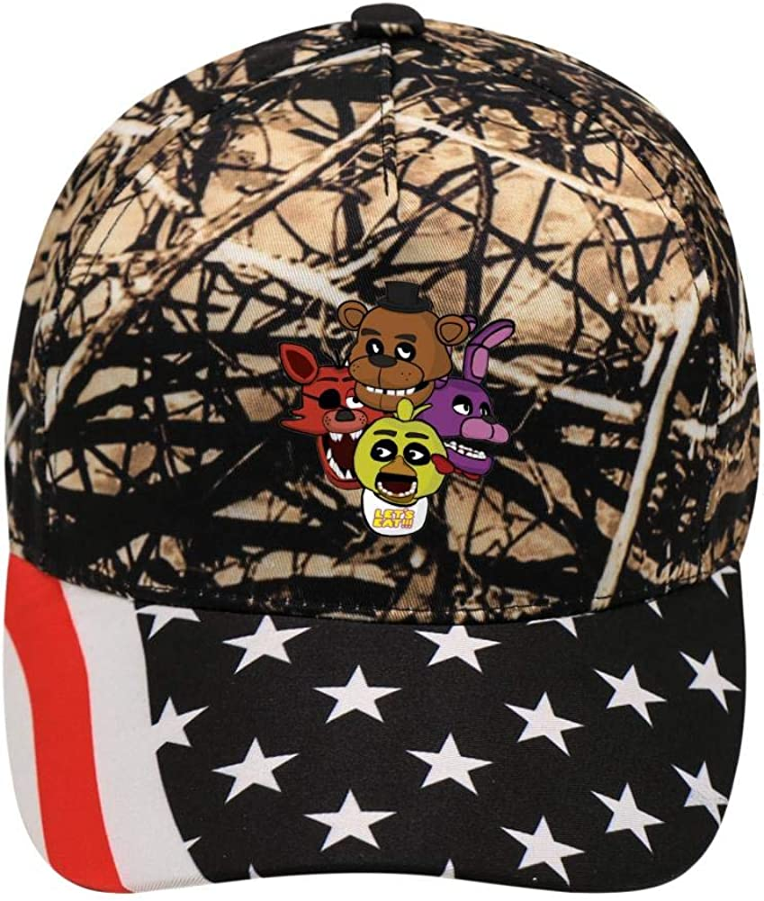 Lets Eat FNAF-World Night Unisex Adjustable Hat Baseball Cap Plaid Flat Hat Bill Brim Casquette Outdoor Men Boys