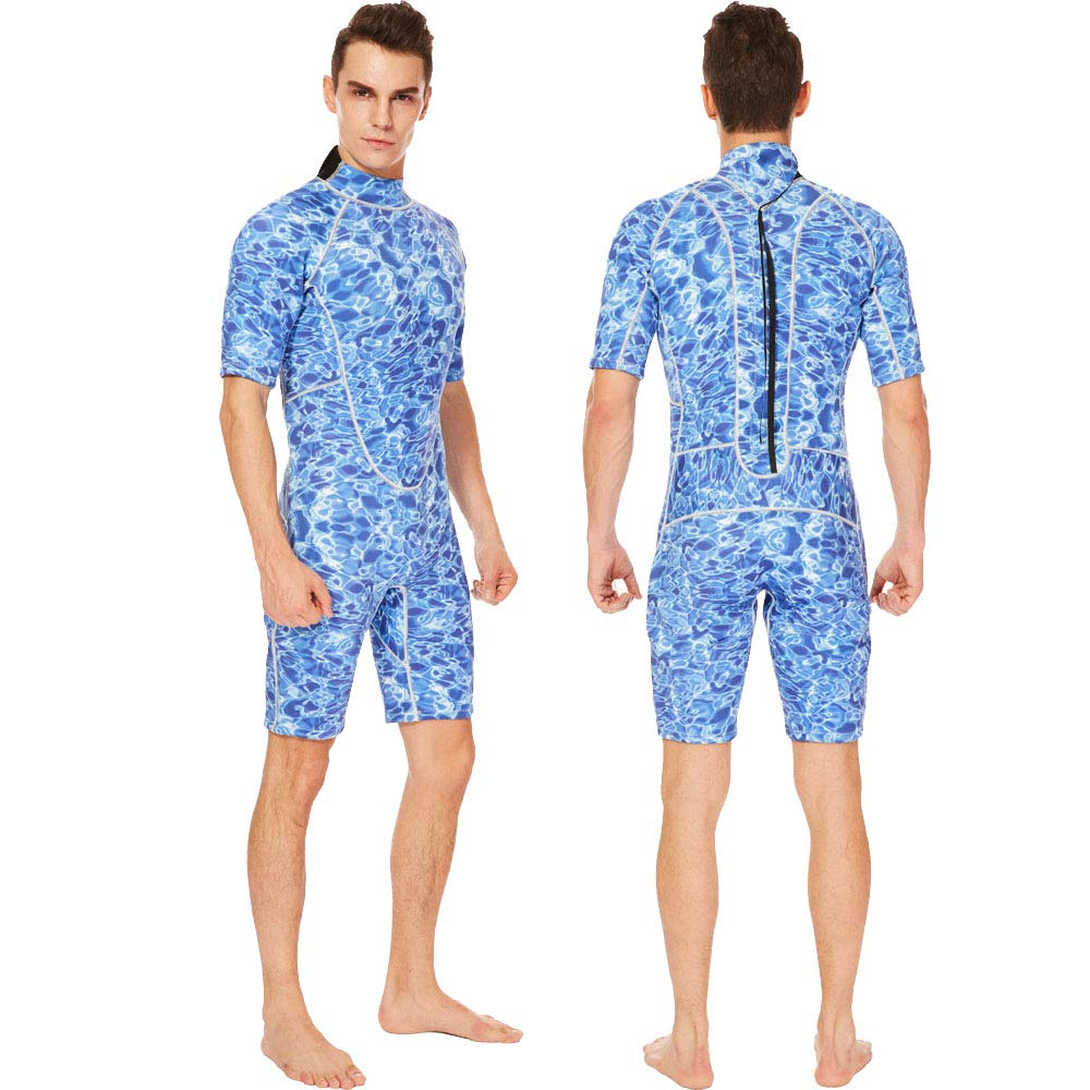 Flexel Adult's Shorty Men Wetsuits 3mm Neoprene Back Zip Diving Suits Cold Water and Outdoors Sports for Swimming Surfing Snorkeling Canoeing (3mm Blue camo, 2X-Large) by Flexel