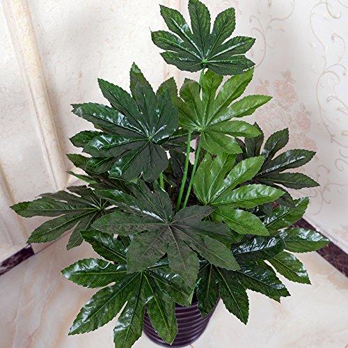 Plants simulation fake trees potted plant office decoration plastic flower floor living room,65CM Fatsia