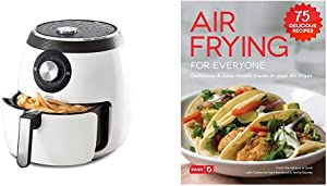 Dash DFAF455GBWH01 Deluxe Electric Air Fryer + Oven Cooker, White & DCB001AF Air Fryer Recipe Book for Healthier + Delicious Meals, Snacks & Desserts, Over 70+ Easy to Follow Guides, Cookbook