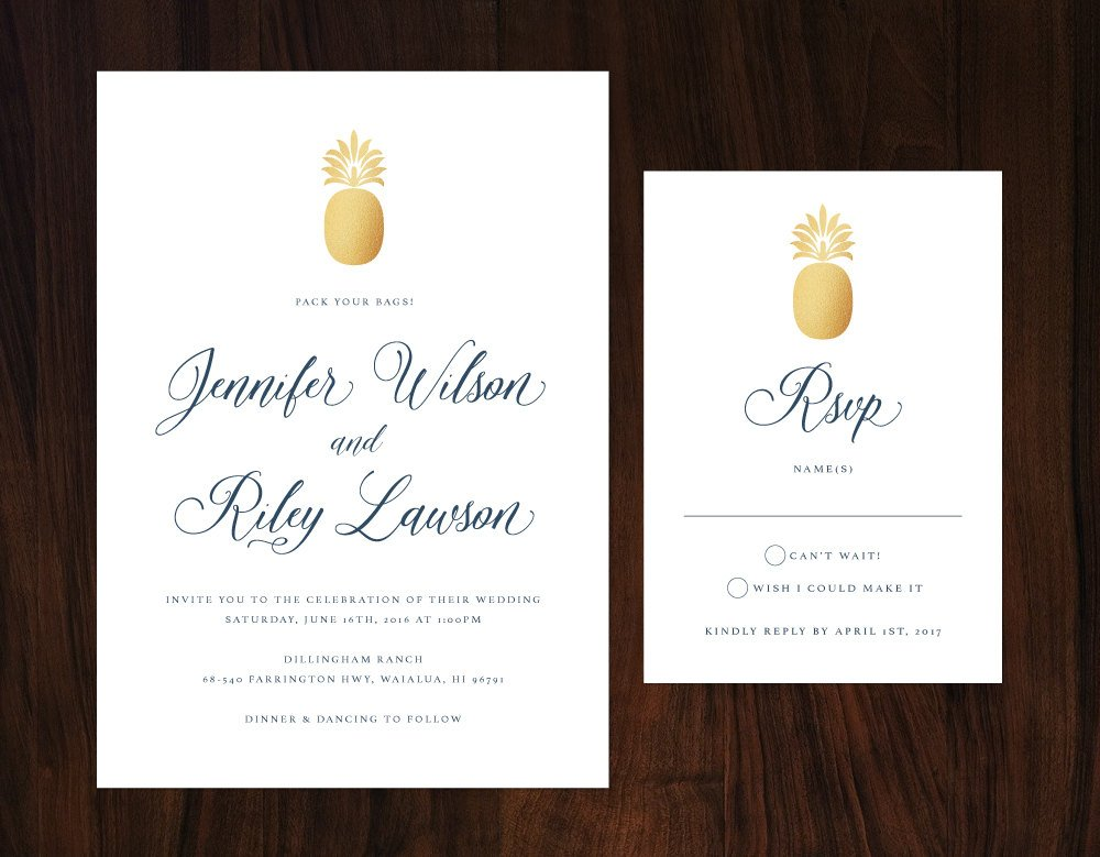 Tropical Wedding Invitation, Gold and Navy Tropical Wedding Invitation, Formal Destination Wedding Invite