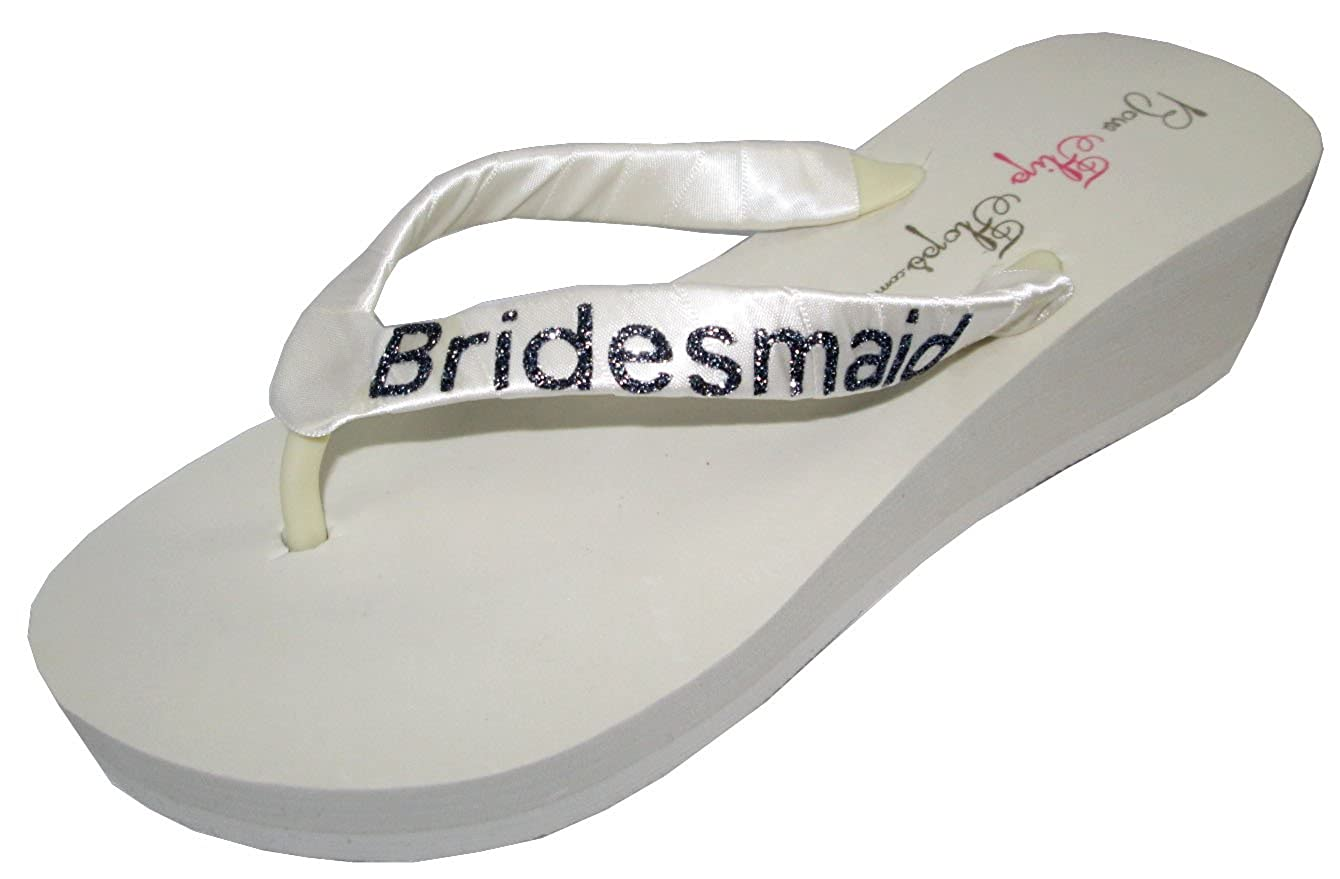 b5d6c68e4b0 Wedding Flip Flops Bridesmaid Bridesmaid Bridal Flip Flops Bride Bling  Glitter Wedge Wedding Platform Sandals Satin Flip Flops Shoes 9 M US   Amazon.ca  ...