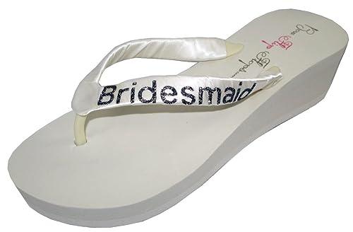 06d52e47b429 Wedding Flip Flops Bridesmaid Bridesmaid Bridal Flip Flops Bride Bling  Glitter Wedge Wedding Platform Sandals Satin