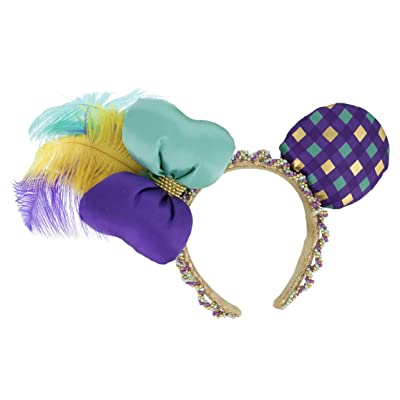Disney Parks Mardi Gras Ornate Beaded Feathers Mickey Minnie Mouse Ears Headband: Everything Else
