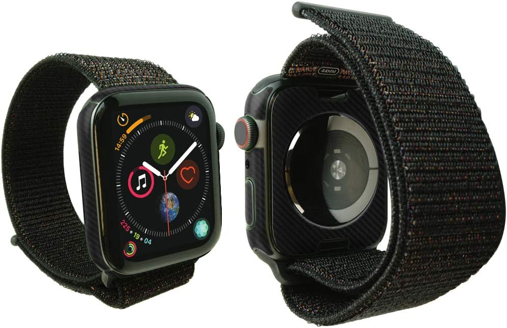 Skinomi Black Carbon Fiber Full Body Skin Compatible with Apple Watch Series 4 (44mm)(3-Pack)(Full Coverage) TechSkin with Anti-Bubble Clear Film Screen Protector