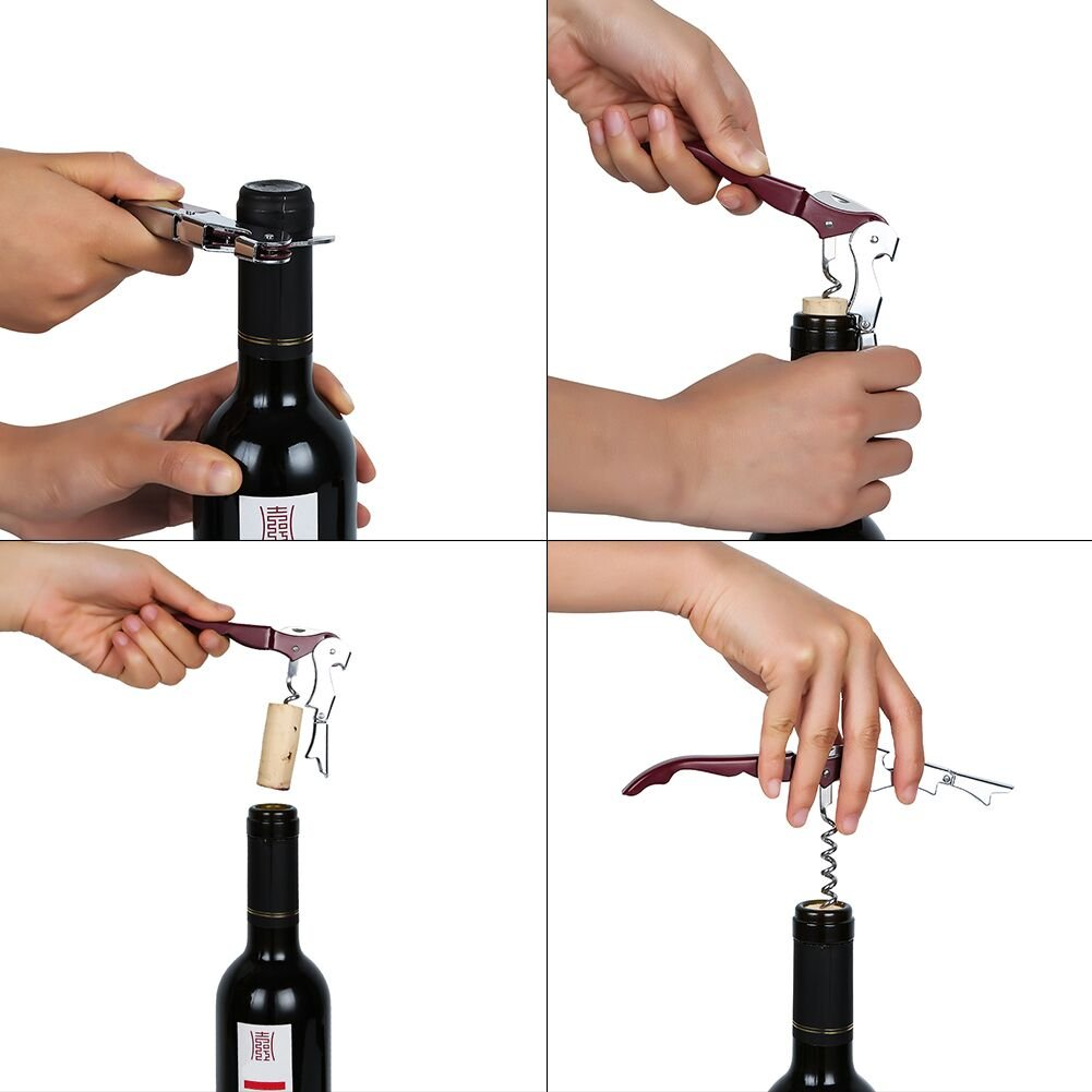 Bottle Opener Beer Opener Stainless Steel Wine Opener All-in-one Waiters Corkscrew with Gift Box, Foil Cutter,with a Wine Stopper
