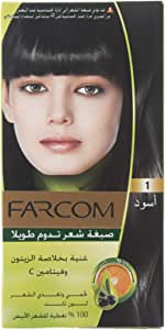 Farcom Echo Hair Colour with Natural Olive Extract and Vitamin C, 60 ml, 1 Black