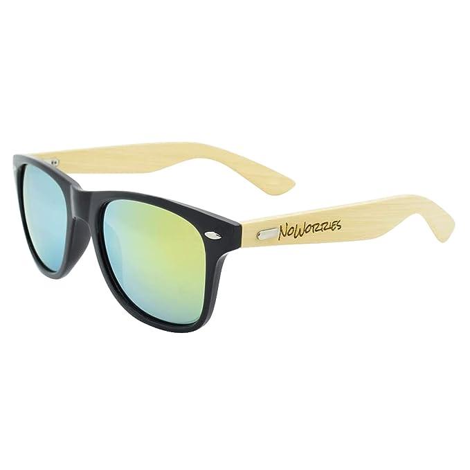 Amazon.com: Estilo Wayfarer, madera de bambú anteojos de sol ...