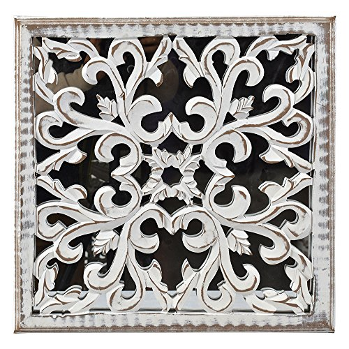 Indian Heritage Wooden Wall Panel 16x16 Carved MDF Mirror in White Distress Finish ()