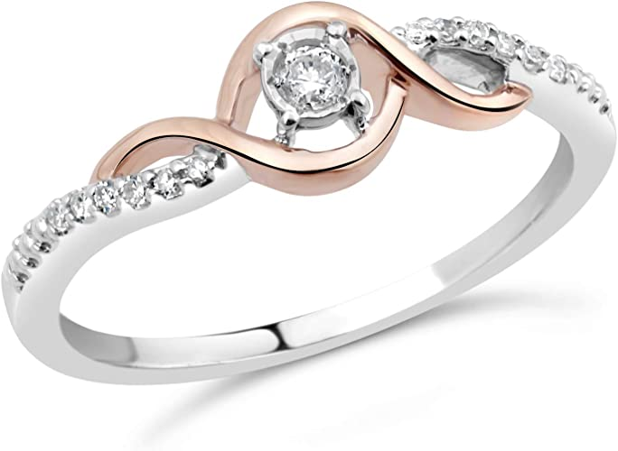 G-H,I2-I3 Size-4.25 Diamond Wedding Band in 10K Pink Gold 1//10 cttw,