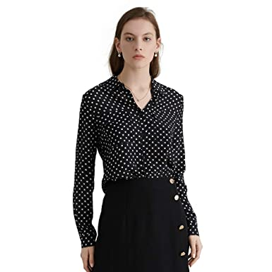 0aecf5af10ca6 LILYSILK Women s Vintage Black Polka Dots Silk Blouse New Look Ladies  Softstyle 16 Momme Pure Silk
