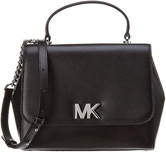MICHAEL Michael Kors Mott Medium Leather Satchel (Black)