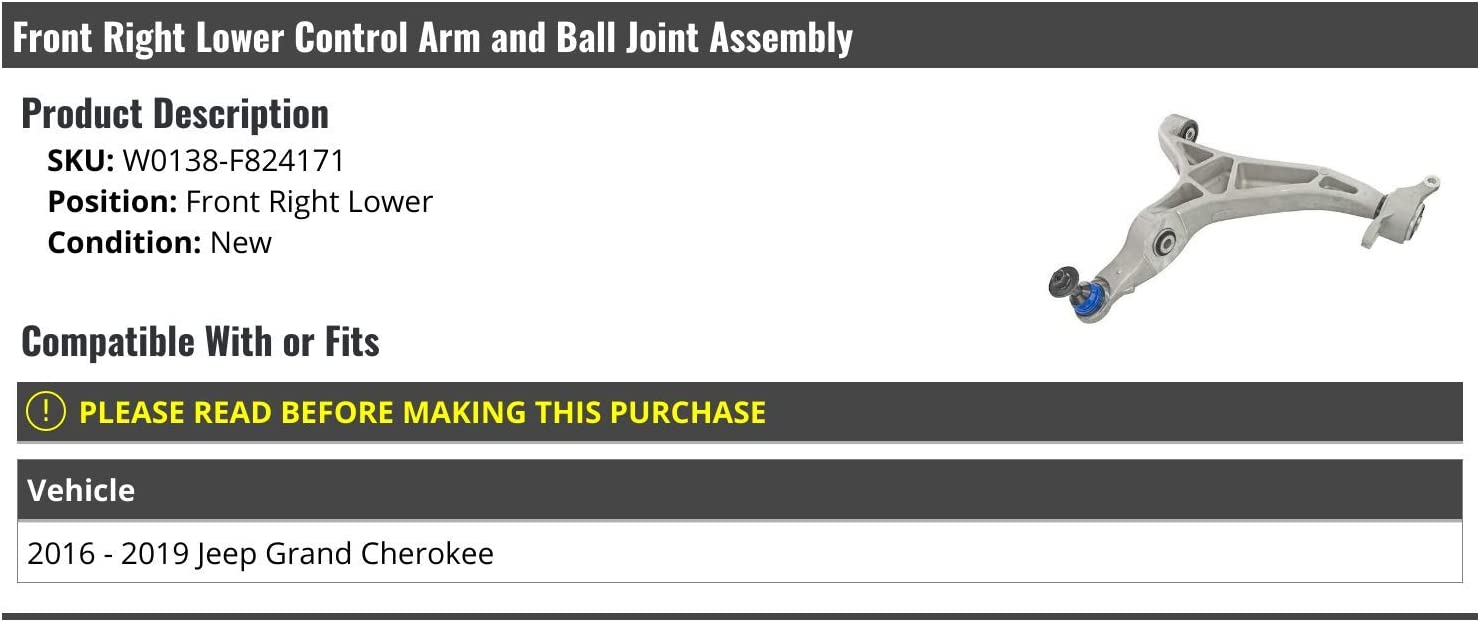 Control Arm/&Ball Joint Front Right Lower fits 2016-2019 Jeep Grand Cherokee BT
