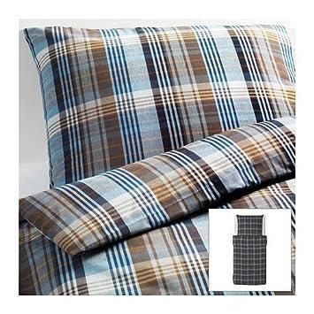 Ikea Bettwasche 2er Set Benzy Kariert Blau 140x200cm Und 80x80cm