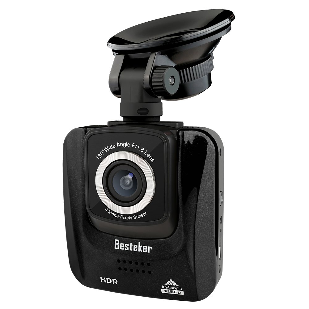 HD Dash Cam avec vision de nuit, Besteker 1296P HDR Camé ra de tableau de bord pour DVR Conduite Enregistreur vidé o 1080p, enregistrement en boucle vé hicule camé scope avec 16 g SD Besteker 382A Dashcam