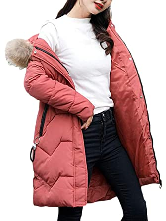 c7668cf6fabaf Amazon.com  Cromoncent Women Winter Thick Faux Fur Hooded Quilted  Cotton-Padded Down Jacket Parka Coat  Clothing