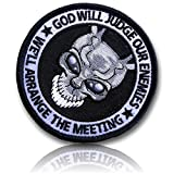 "[Single Count] Custom, Cool & Awesome {3.5'' Inches} Circular Tactical Morale ''God Will Judge Enemies. We'll Arrange The Meeting'' Darko Frank Bunny (Military) Hook Fastener Patch ""Grey, White, & Black"""