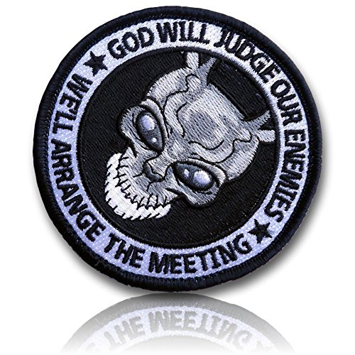 "[Single Count] Custom, Cool & Awesome {3.5'' Inches} Circular Tactical Morale ''God Will Judge Enemies. We'll Arrange The Meeting'' Darko Frank Bunny (Military) Hook Fastener Patch ""Grey, White, & Black"" by 13th Titan"