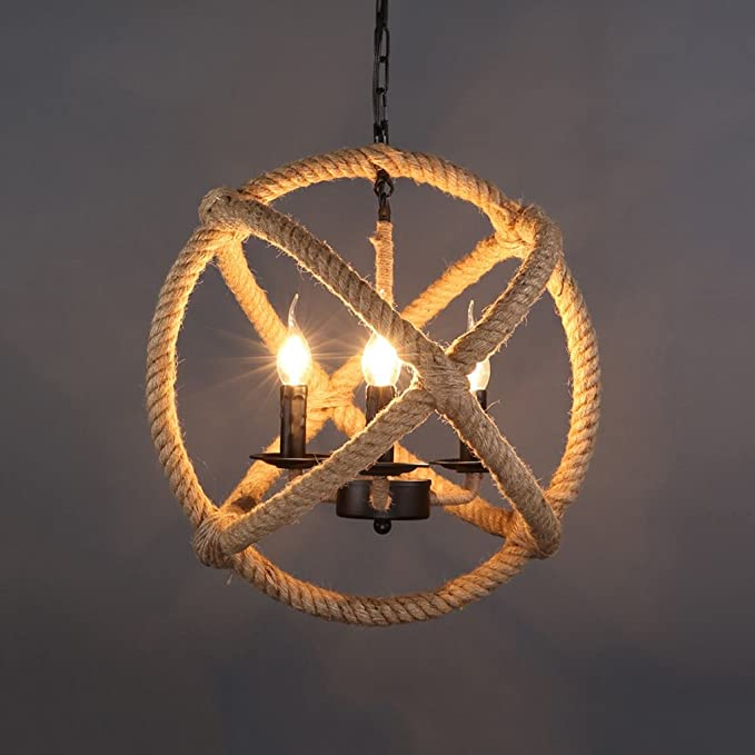 Hanf-Seil Drei Kopf Weinlese hängende hängende Decken-Licht-Lampe ...