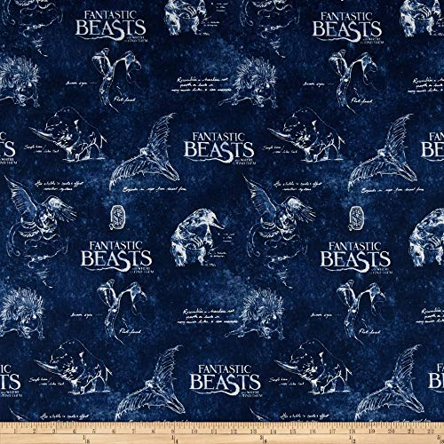 - Wizarding World Fantastic Beasts Logo & Creatures on Textured Ground Fabric by The Yard
