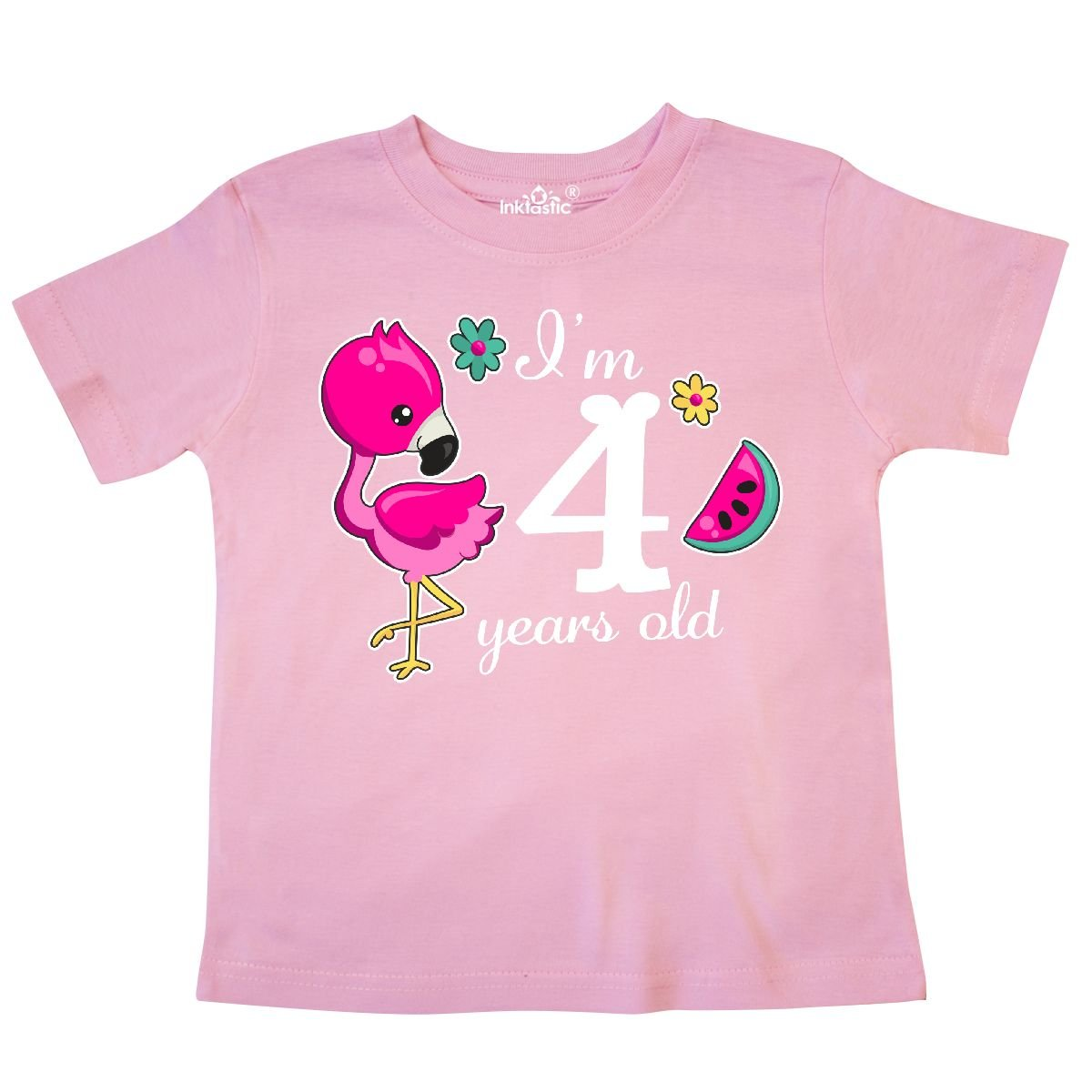 inktastic Im 4 Years Old with Flamingo and Flowers Toddler T-Shirt