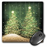 3dRose LLC 8 x 8 x 0.25 Inches Mouse Pad, Elegant Christmas Sparkling Trees Green (mp_35706_1)