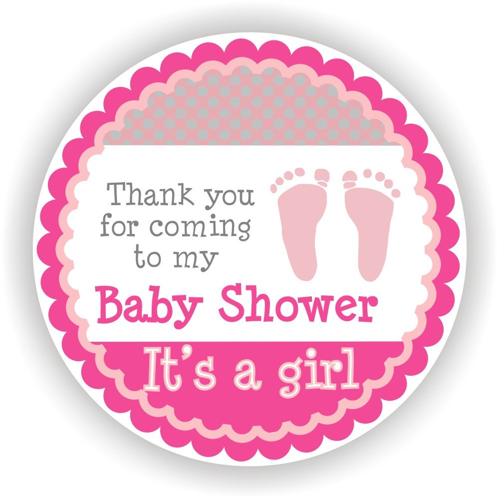 Philly Art & Crafts Baby Girl Shower Stickers - It's a Girl Stickers - Favor Stickers - Baby Shower Favor Stickers - Baby Footprint Stickers - Set of 40 Stickers (Pink)