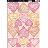 "Bella Die-Cut Punch-Out Sheet 8""X12""-Hearts Pink"