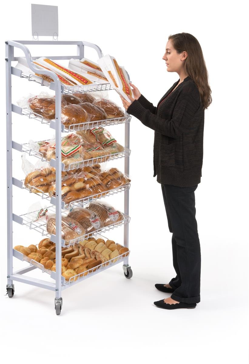 Displays2go Baker's Rack with 6 Adjustable Shelves Wire Display Rack with Wheels and 2 Sign Holders by Displays2go (Image #3)