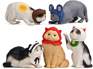 Cat Figurines Playset, 5 Pcs Realistic Detailed Cat Figures Fairy Garden Miniature Cat Figurines Collection Playset Cake Toppers Christmas Birthday Gift