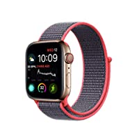 Haotop Replacement Bands Compatible with Apple Watch, Woven Nylon Sport Loop Band Wristband Replacement Bracelet for iWatch Straps Series 4/3/2/1 (42MM/44MM, Electric Pink)