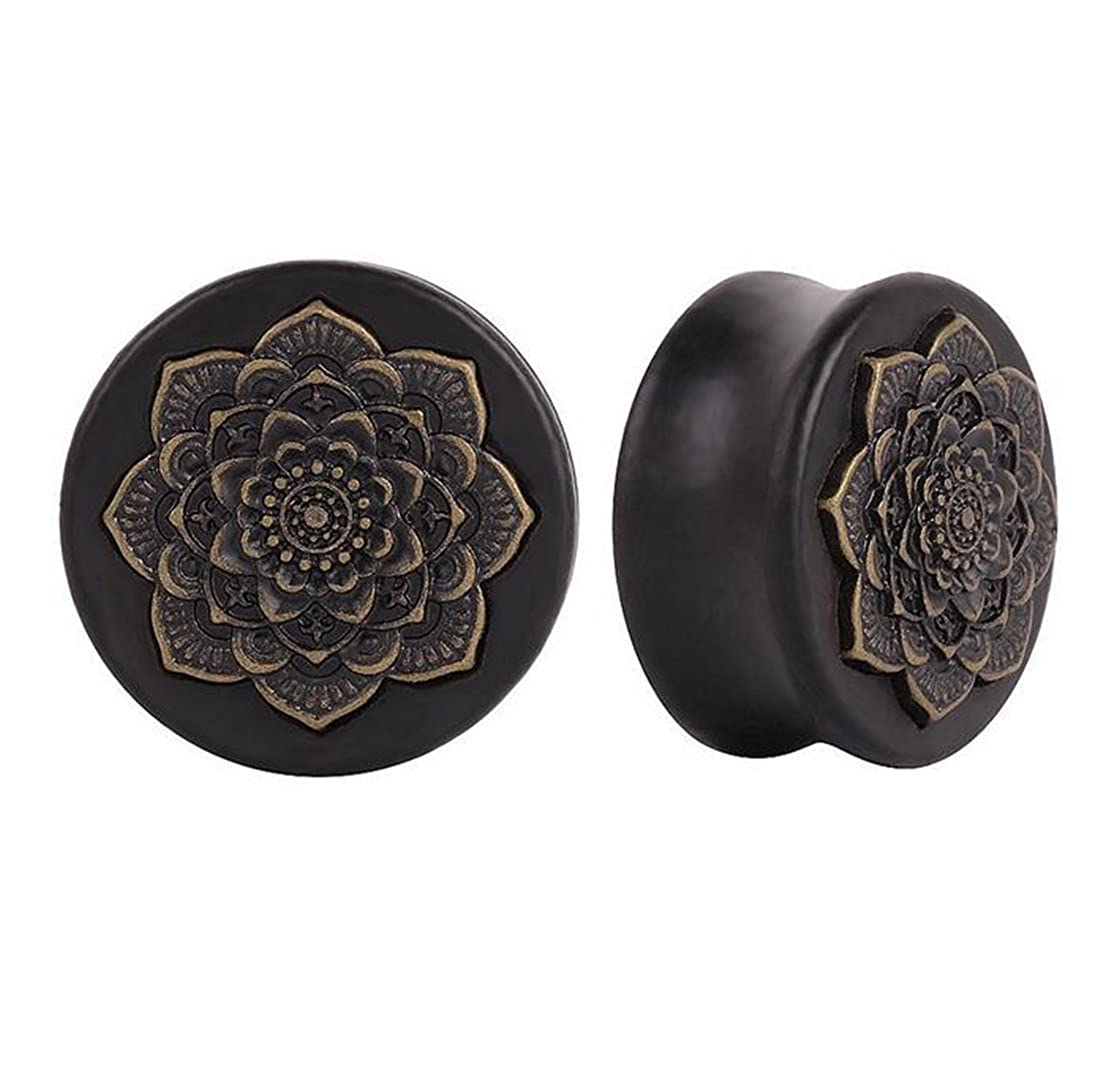 ANDYLE Wood Vintage Brass Flower Ear Plugs Tunnels Saddle Expander Body Piercing Xuanhe wu
