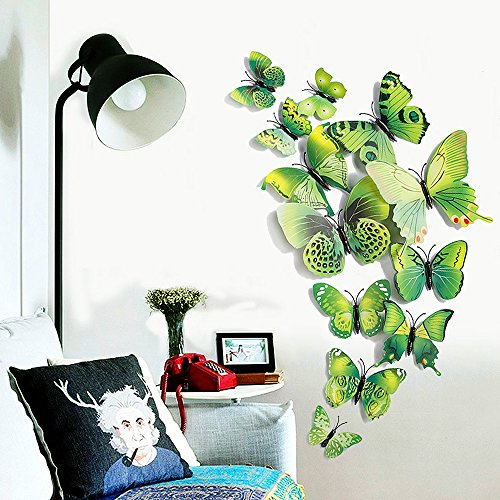 12 piece 3d green butterfly wall stickers diy art decor crafts for hallowmas thanksgiving christmas new year decor nursery classroom offices kids bedroom
