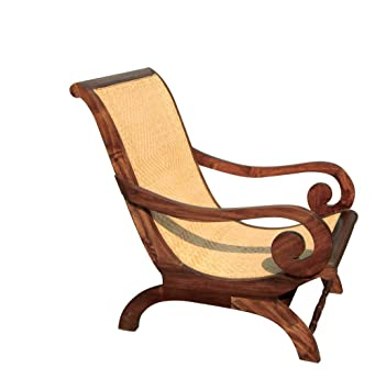 Hand Stained and Woven Antiqued Teak Lazy Chair in Colony Style