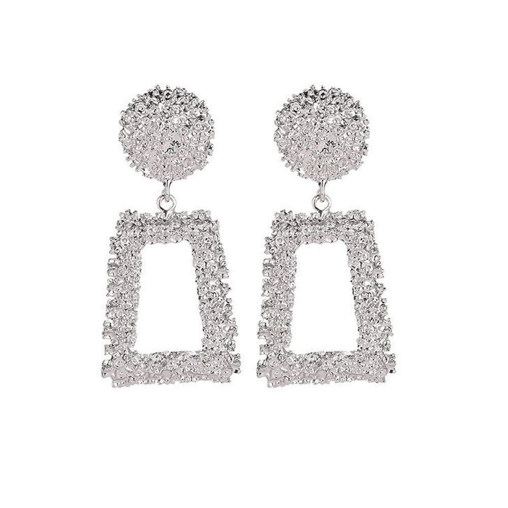 Quelife New Fashion Geometric Trapezoidal Earrings Long Metal Earrings Women Earrings Silver