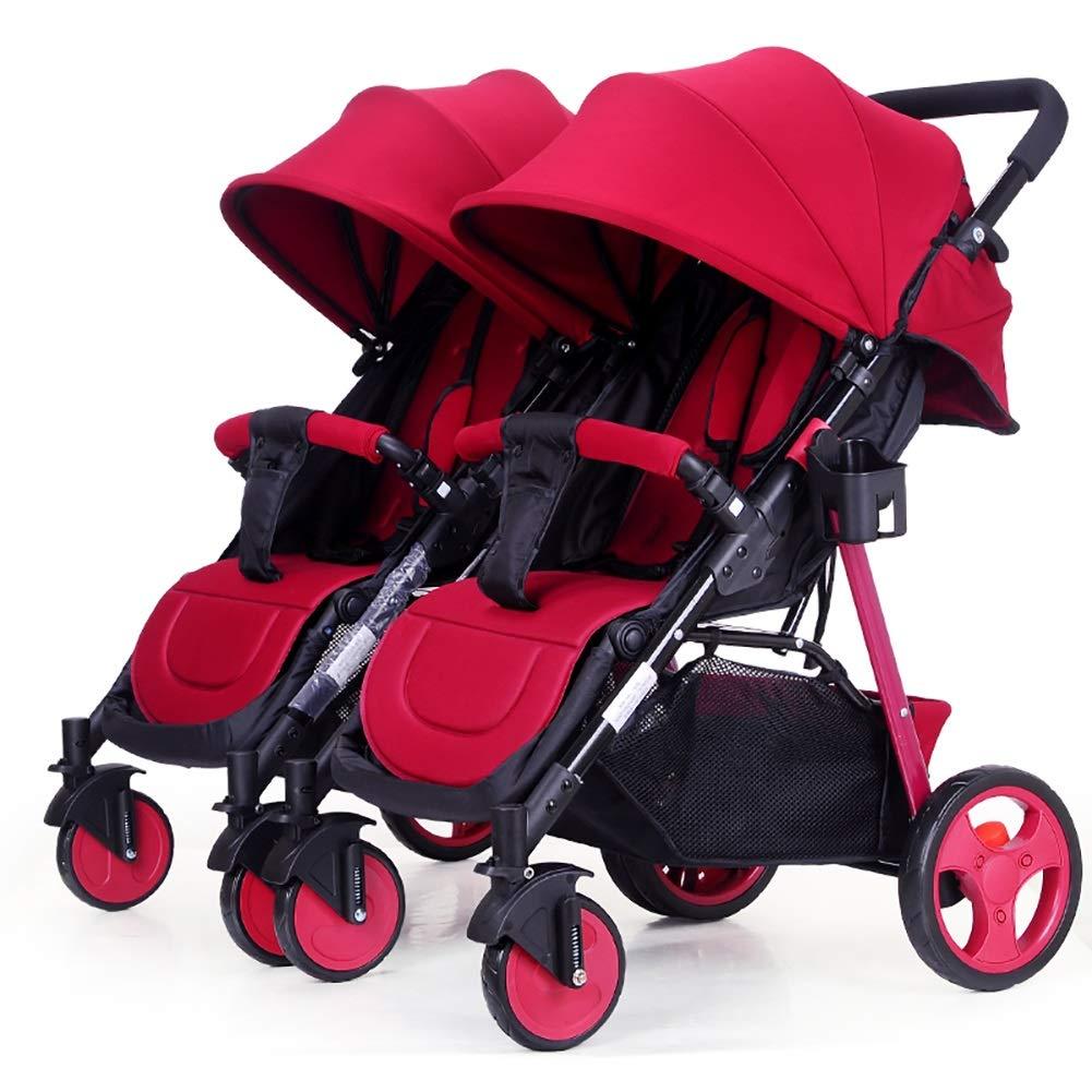 Mariny ツインベビーベビーカー着脱可能Ready2growダブルトロリー座って、軽量折りたたみ赤ちゃんキャリッジに横たわることができます。 (色 : 赤)   B07R8RTXFR