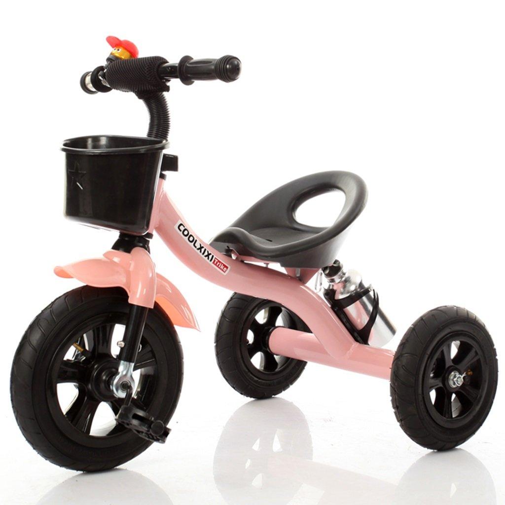 HAIZHEN マウンテンバイク 子供の三輪車のスチールフレームインフレータブルホイール自転車2-4歳の赤ちゃんおもちゃの車71 * 48 * 58センチメートル 新生児 B07DLCH9KS ピンク ぴんく ピンク ぴんく