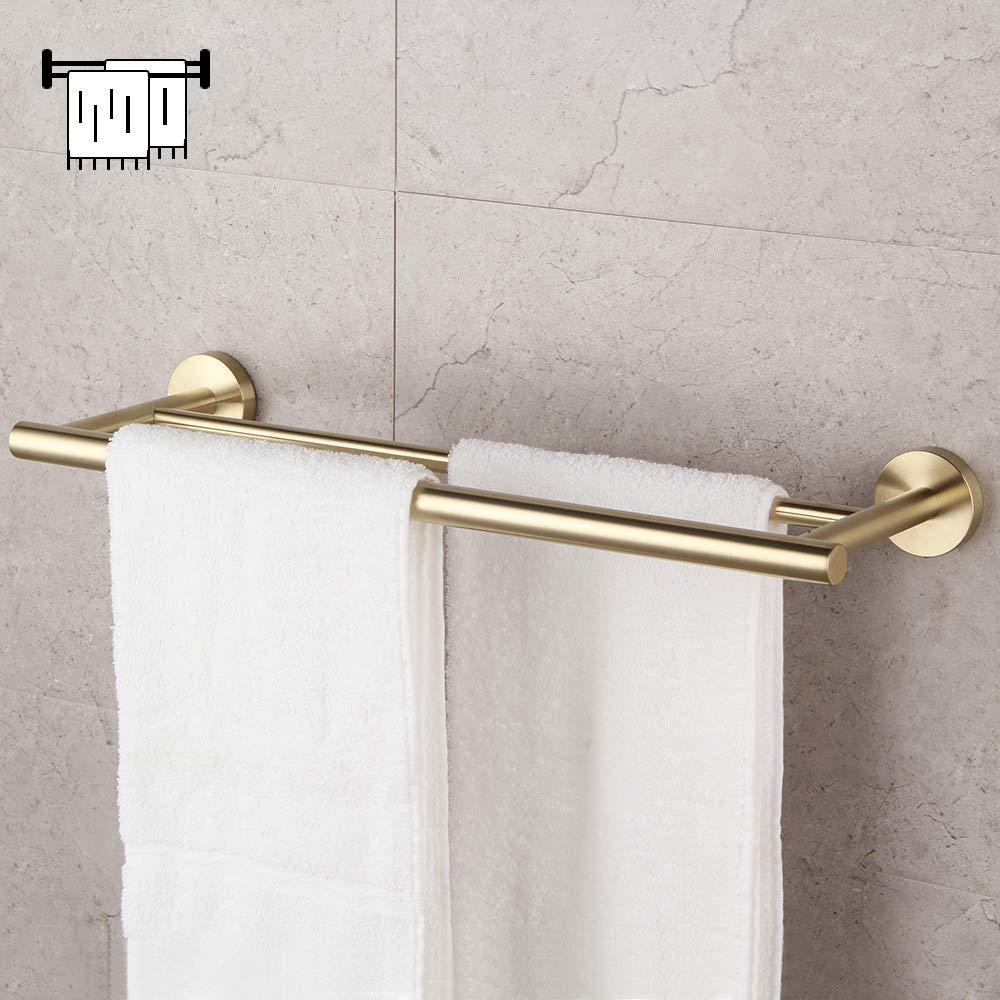 Bathroom Hardware Set 4 Pieces Brushed PVD Zirconium Gold SUS 304 Stainless Steel Bathroom Hardware Accessories Sets Wall Mounted Double Towel Bar Towel Holder Hook Toilet Paper Holder by GERZ (Image #3)
