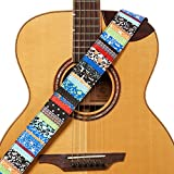 """Amumu National Guitar Strap Blue Denim for Acoustic, Electric and Bass Guitars with Strap Blocks & Headstock Strap Tie - 2"""" Wide"""