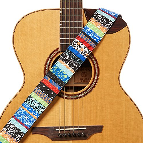 (Amumu Ethnic Folk Guitar Strap Blue Denim for Acoustic, Electric and Bass Guitars with Strap Blocks & Headstock Strap Tie - 2