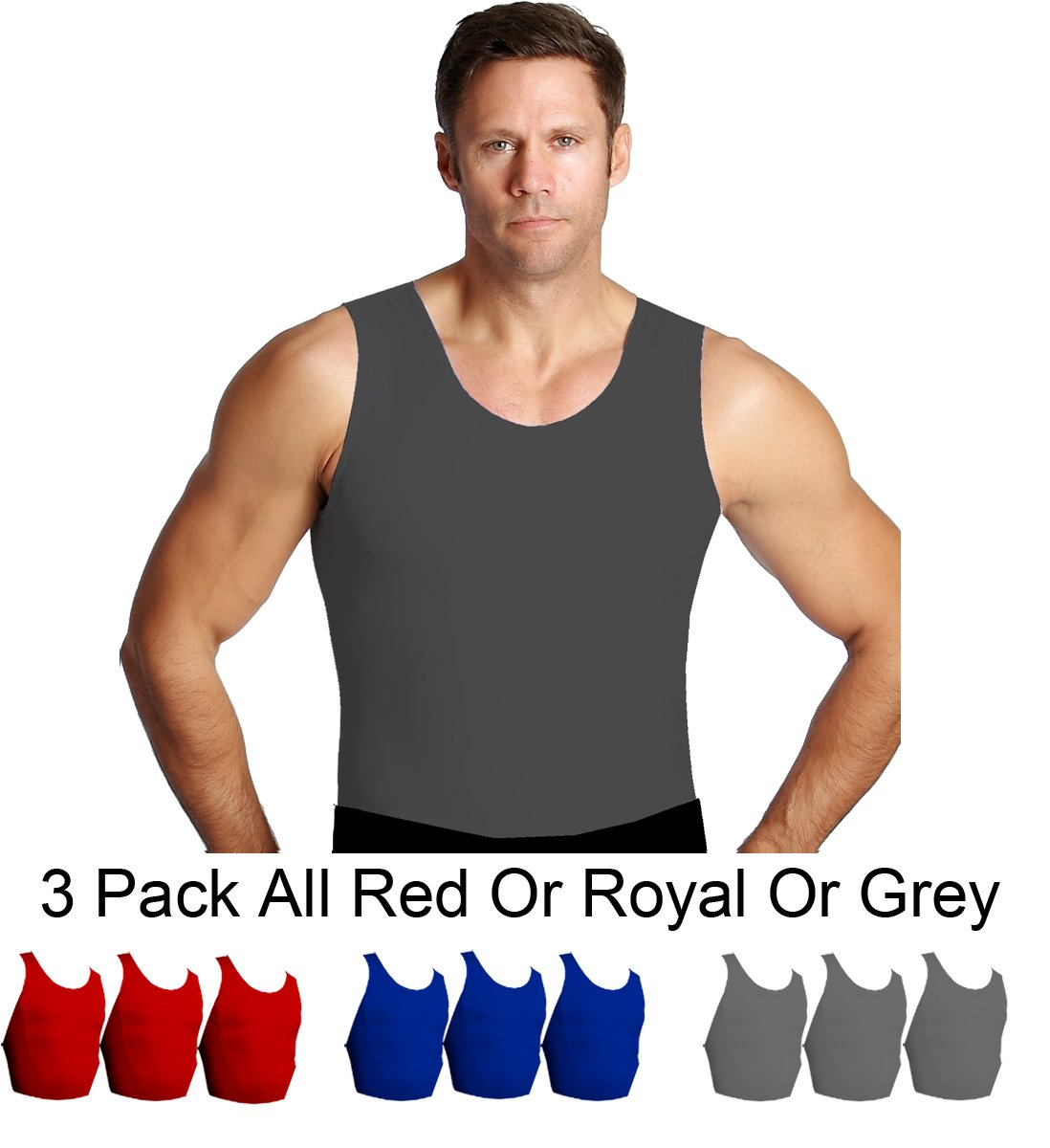 Insta Slim 3 Pack Muscle Tank, Look up to 5 inches Slimmer Instantly, Grey, Medium, The Magic is in The Fabric! by Insta Slim (Image #4)