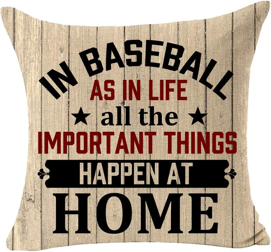 In Baseball As In Life All The Important Things Happen At Home You Miss 100% Of The Shots You Don't Take Wood Sport Decorative Cotton Linen Cushion Covers Throw Pillowcase Square 18 x 18 Inch (B) (B)