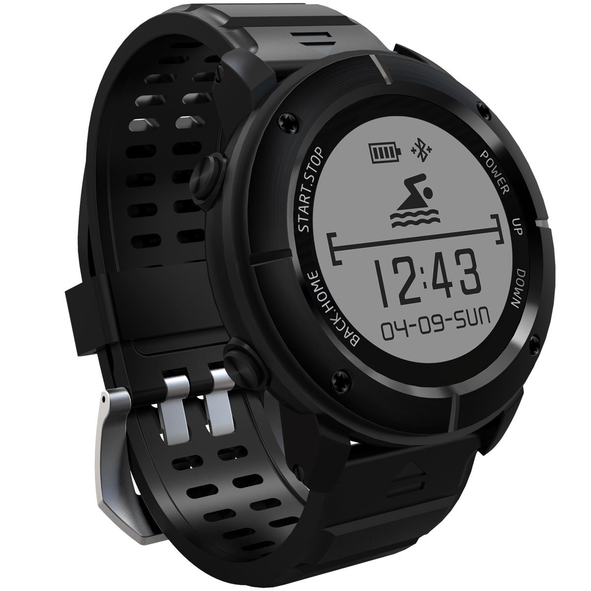 GPS Smartwatch, 11 Sports Modes Waterproof Smart Watch with SOS Heart Rate Monitor Compass Barometer Stopwatch Pedometer for Hiking Running Swimming etc., Support IOS iPhone & Android Cellphones by HopCentury