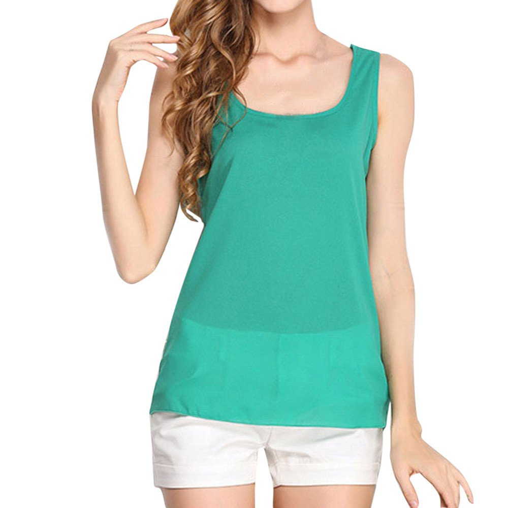 JFLYOU Basic Tank Top for Women,Loose Chiffon Sleeveless O Neck Solid Shirt Tops(Green,XXXL)