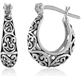 925 Oxidized Sterling Silver Bali-Inspired Open Filigree Hoop Post Earrings