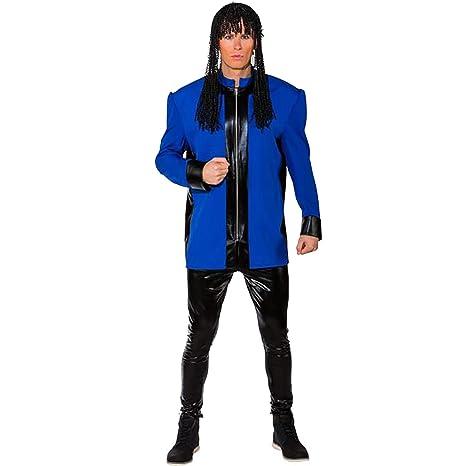 ORLOB Hombre Disfraz Músicos Chaqueta con Almohadilla de Hombro Azul Azul 50 /52